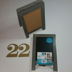 Chalk / Cork Set of 2 Gray Double-Sided Easels